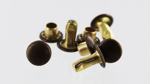 lot de rivets acier bronze vieilli double calotte accessoire maroquinerie cuir en stock