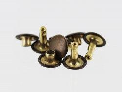 lot rivets double calotte acier bronze accessoire maroquinerie cuir en stock