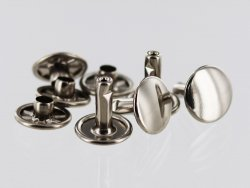 lot rivets double calotte acier nickelé accessoire maroquinerie cuir en stock