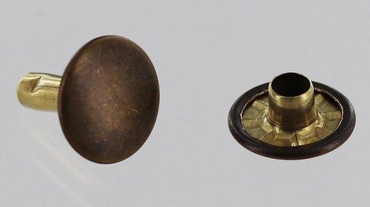 lot rivets double calotte acier bronze vieilli accessoire maroquinerie Cuir en Stock