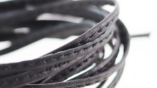 Fine lanière lacet sangle de cuir noir surpiqué Cuirenstock