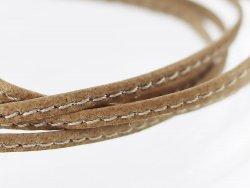 Fine lanière lacet sangle de cuir beige surpiqué Cuirenstock