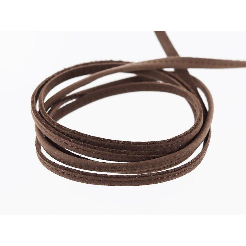 fine lanière lacet sangle en cuir brun taupe surpiqué cuir en stock