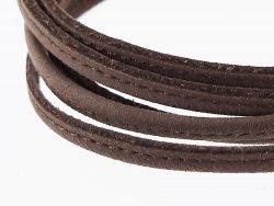 fine lanière lacet sangle en cuir brun taupe surpiqué cuirenstock