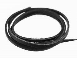 lanière lacet sangle en cuir carré noir cuir en stock