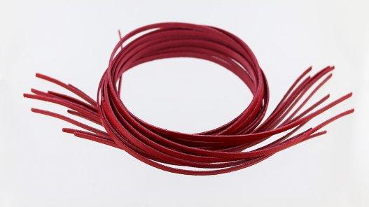 assortiment 12 lanières en cuir de vache rouge création de bijoux et maroquinerie
