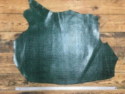 peau de cuir de vache grain crocodile vert cuirenstock