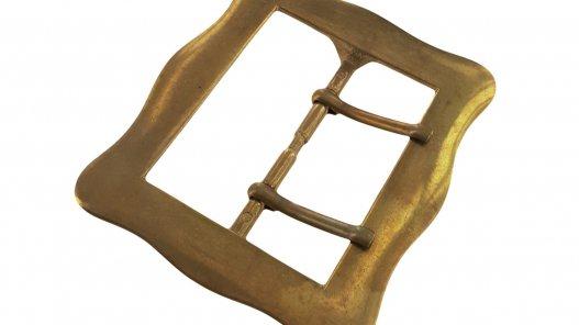 grande boucle ceinture double ardillon laiton massif 54 mm cuir en stock