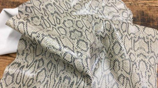 peau de cuir de chèvre grain serpent naturel gris beige Cuirenstock