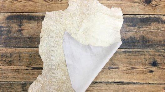 Peau de chèvre velours sérigraphié serpent beige Cuirenstock
