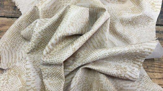 Peau de chèvre velours sérigraphié serpent beige cuir en stock