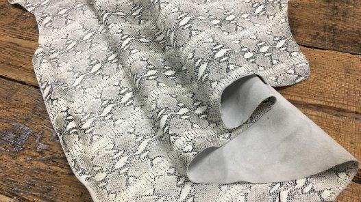 Peau de cuir de veau façon python gris Cuir en Stock