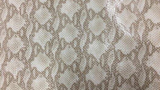 Peau de cuir de veau grain serpent naturel beige cuir en stock