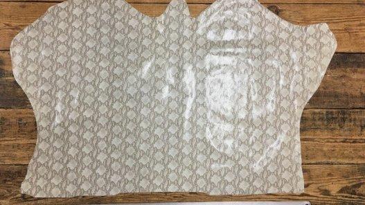 Peau de cuir de veau grain serpent naturel beige cuirenstock
