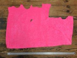 morceau de cuir de veau velours rose fluo Cuir en Stock