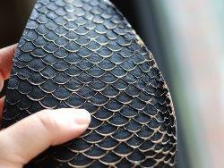 cuir de poisson tilapia noir et doré or gold Cuirenstock