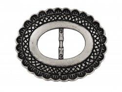 Passant de ceinture ovale argent vieilli cuir en stock