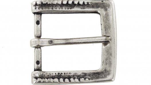 Boucle de ceinture carré décor argent vieilli laiton massif 35 mm cuir en stock