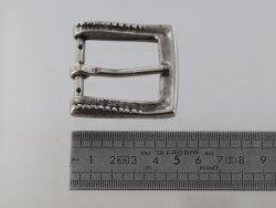 Boucle de ceinture carré décor argent vieilli laiton massif 35 mm Cuirenstock