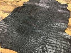 peau de cuir de mouton grain caïman noir Cuirenstock