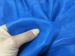 demi peau de cuir de veau lisse bleu cyan cuirenstock