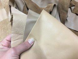 Chutes de cuir de veau lisse camaïeu de beige cuirenstock