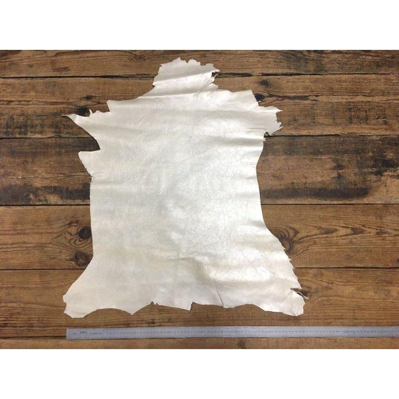 peau de cuir de chèvre craquelé blanc nacré cuir en stock