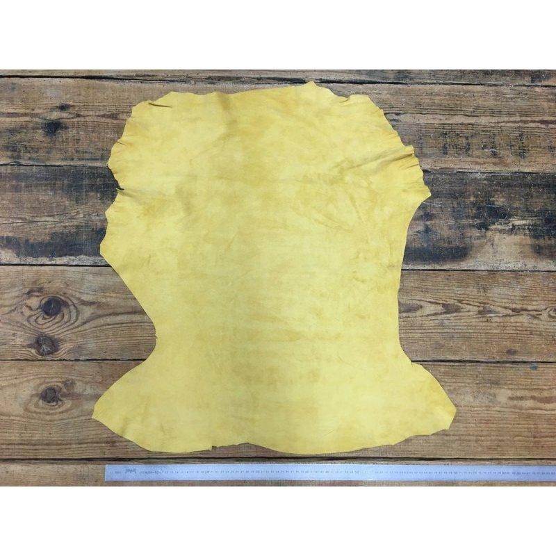 Peau de chèvre velours jaune cuir en stock