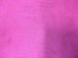 Peau de cuir de mouton grain caïman rose cuir en stock
