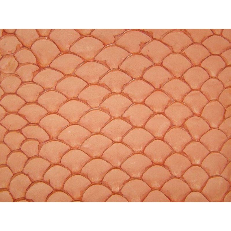 Cuir de poisson tilapia orange mat bijoux accessoire maroquinerie Cuir en stock