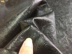 peau de cuir de mouton grain cordoue fleuri noir cuirenstock