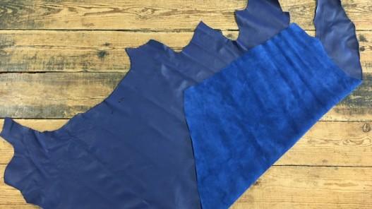 demi peau de cuir de veau lisse bleu nuit cuir en stock