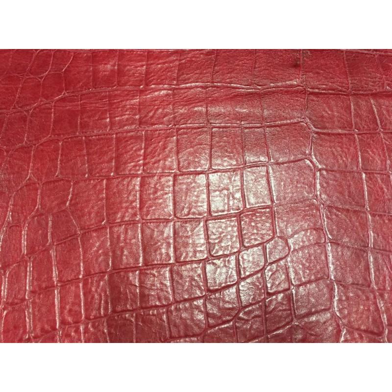 Peau de cuir de mouton grain façon croco bordeaux cuir en stock