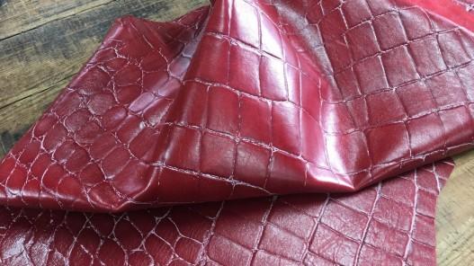 Peau de cuir de mouton façon crocodile rouge et blanc Cuirenstock