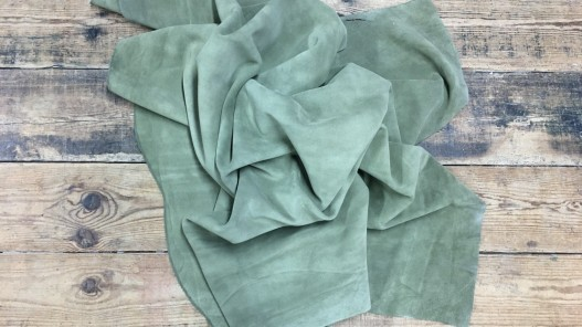 Veau velours vert kaki Cuirenstock