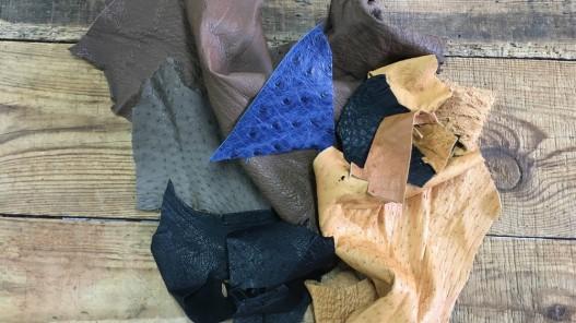 Chutes morceaux de cuir exotique autruche Cuir en Stock
