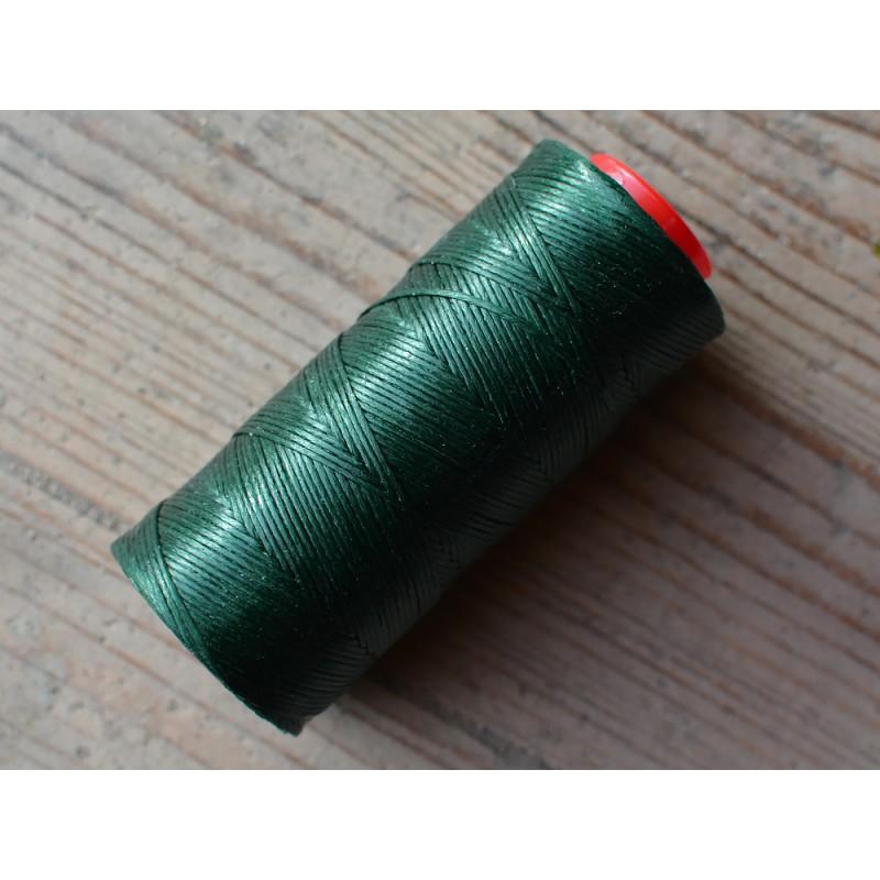 Bibine de fil polyester tressé et ciré pour coudre le cuir à la main type point sellier vert foncé Cuirenstock