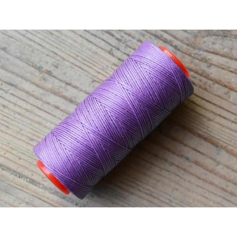 Bobine fil polyester violet tressé et poissé pour couture main cuir Cuirenstock