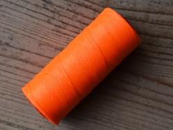 Bobine fil polyester 1mm tressé et poissé orange fluo couture cuir main Cuirenstock