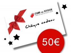Chèque carte cadeau 50 euros travail du cuir Cuirenstock