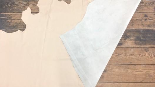 Demi-peau de cuir de vachette beige grain façon crocodile Cuir en stock