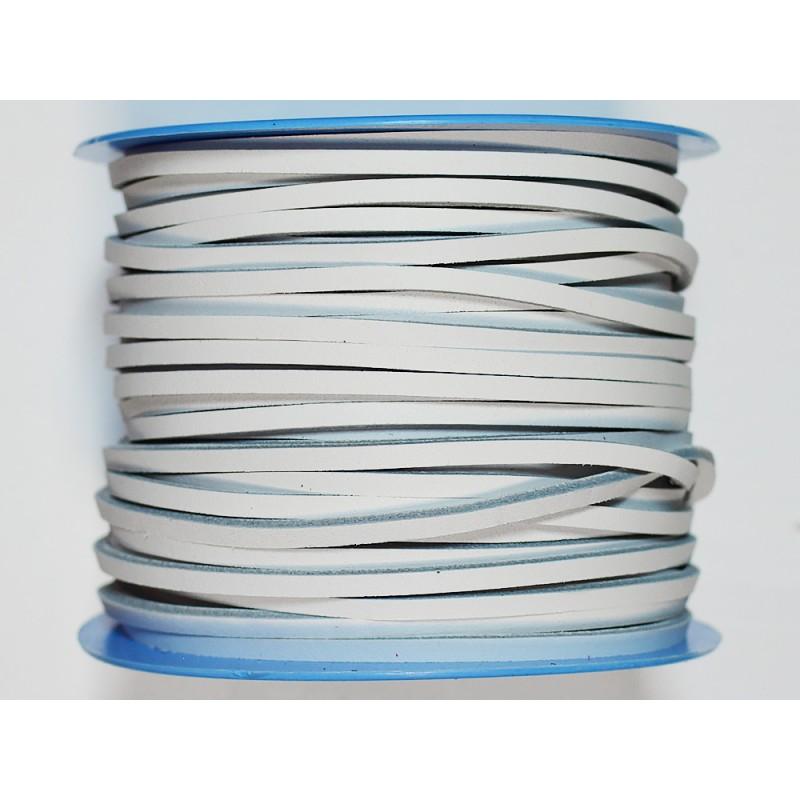 Lacet cuir carré blanc 3 mm vendu au mètre bobine - Cuir en Stock