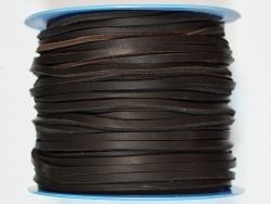 Lacet de cuir carré 3.5 mm marron foncé chocolat vendu au mètre premier choix - Cuir en Stock