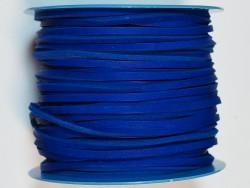 Lacet de cuir carré 3.5 mm bleu électrique vendu au mètre - Cuir en Stock