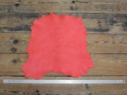 Peau de cuir de chèvre velours rose corail - Cuir en Stock