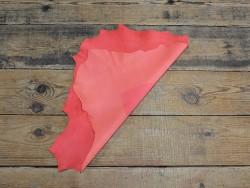 Cuir de chèvre velours orange corail - Maroquinerie - Cuirenstock