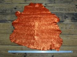 Cuir fantaisie métallisé et pailleté orange - Cuirenstock