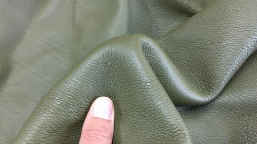 Peau de cuir de veau grainé vert kaki maroquinerie Cuirenstock