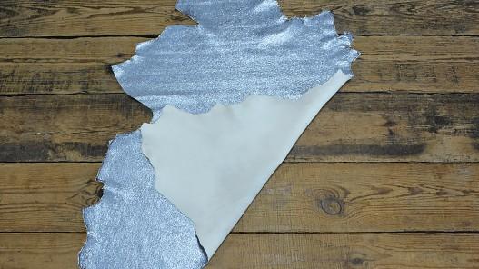 Cuir de chèvre métallisé craquelé brillant bleu clair argent Cuirenstock