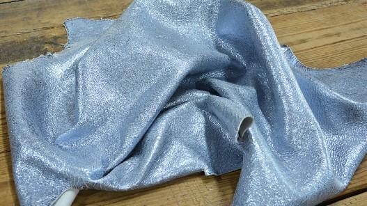 Peau chèvre argenté bleu acier craquelé Cuir en stock